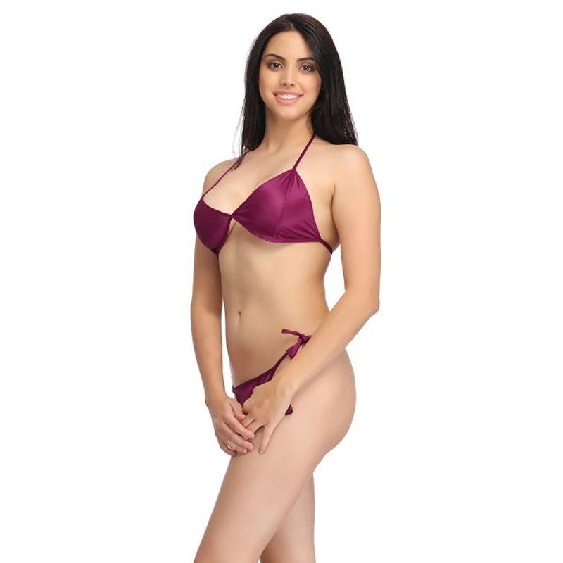 bfd04d82010d Clovia Set Of Halter Neck Bra & Stringy Bikini - Wine (Free Size) at  Nykaa.com