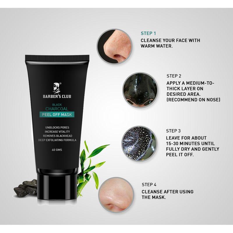 Barber's Club Black Charcoal Peel off Mask - Ultimate Blackhead Remover  100% Organic & Natural(60gm)