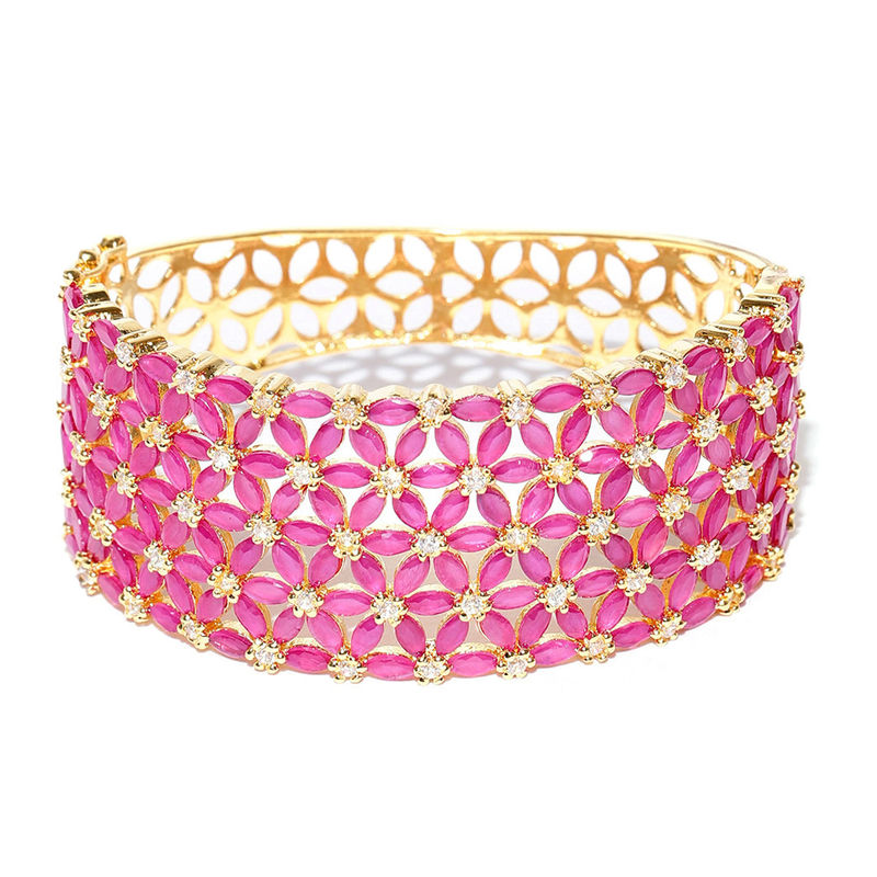 45238d124b2 Jewels Galaxy Pink Gold-Plated Handcrafted Stone-Studded Bangle-Style  Bracelet at Nykaa.com