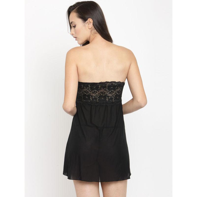 2794f0ee3 N-Gal Strapless Sheer Tube Black Net Sexy Babydoll Night Dress with  G-String Nightwear at Nykaa.com