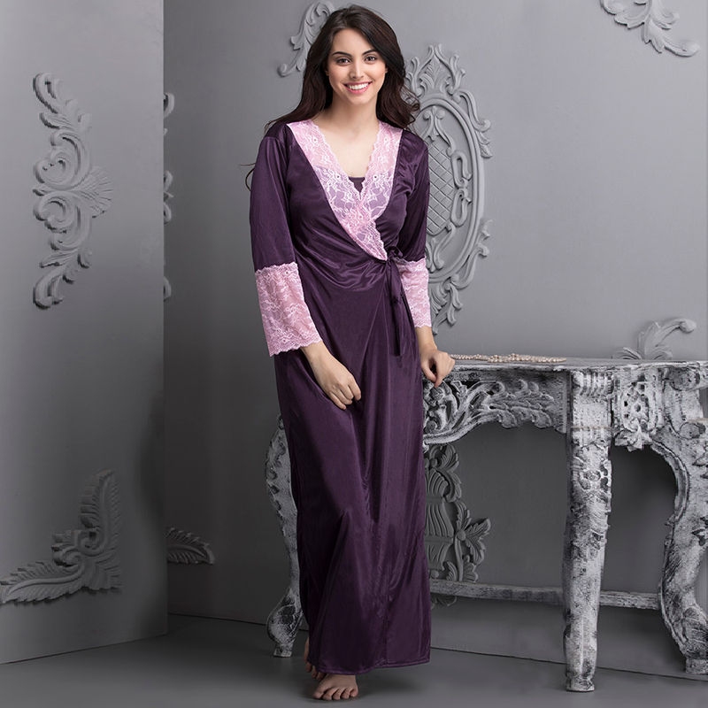1bb2a8e3ff1 Buy Clovia 7 Pc Satin Nightwear Set - Purple (Onesize) at Nykaa.com