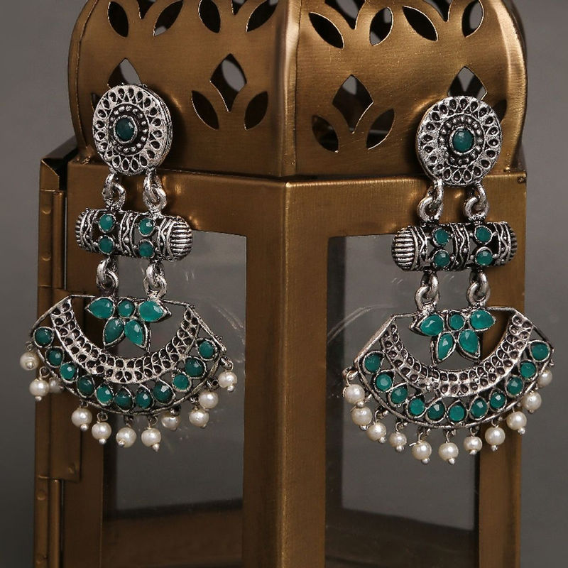 Fabula German Oxidised Silver With Green Stone With Pearls Peacock Design Ethnic Drop Earrings