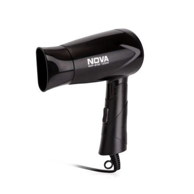 Nova Silky Shine 1200 W Hot And Cold Foldable NHP 8100 Hair Dryer  Black