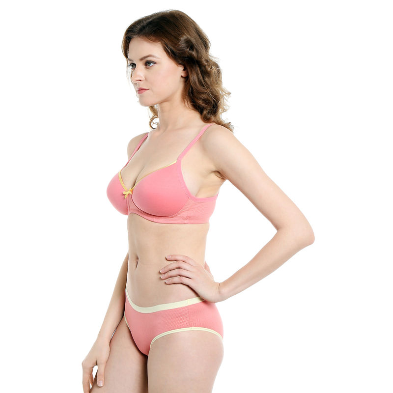 eae72d13c4c S.O.I.E Everyday Non Wired Organic Cotton Padded Bra And Matching Panty -  Pink (38C) at Nykaa.com