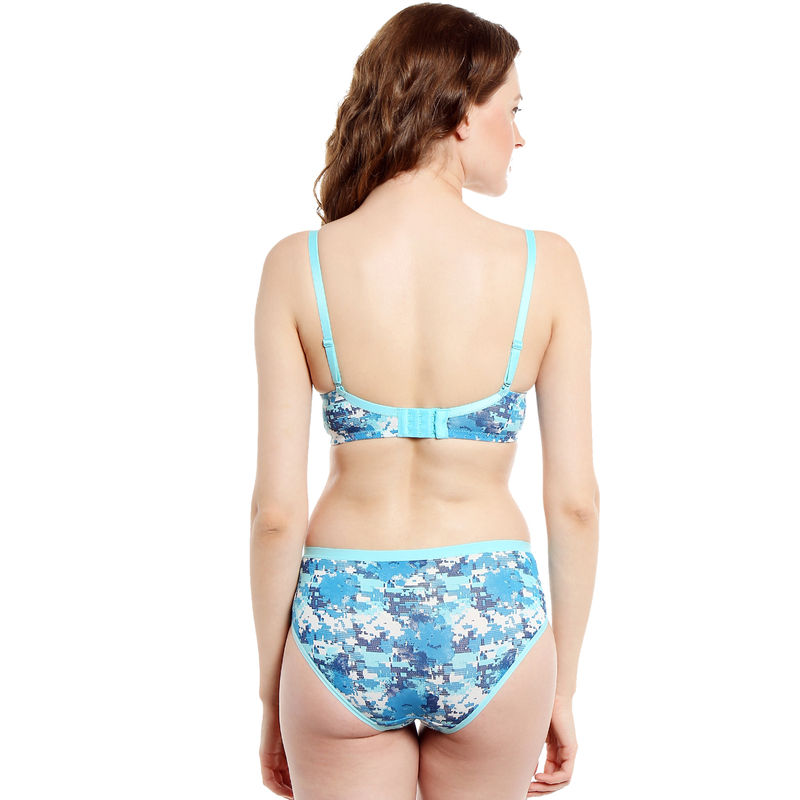 2218cd1959d3 S.O.I.E Pixelated Print Non Wired Organic Cotton Padded Bra And Matching  Panty - Blue (38B) at Nykaa.com