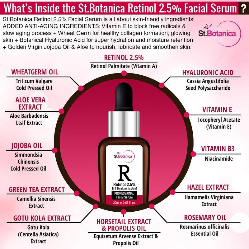 St Botanica Retinol 2 5% + Vitamin E & Hyaluronic Acid Professional Facial  Serum