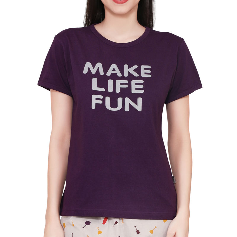 d3fe64ee2 Velvet by night Wine Printed Hosiery Top & Pajama Set for Women at Nykaa.com