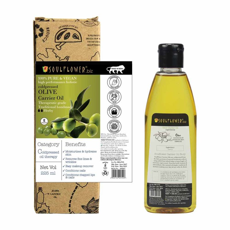 Soulflower Coldpressed Olive Carrier Oil(225ml)