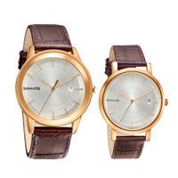 Sonata 71338164WL01 White Dial Analog Watch For Couple