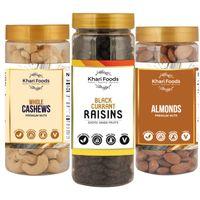 Khari Foods Almonds, Raisins, Cashew Dry Fruits Combo Pack