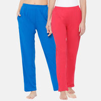 Clovia Cotton Pack of 2 Pyjama with Elastic Waistband - Multi-Color