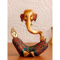 eCraftIndia Meditating Lord Ganesha Handcrafted Brass Idol with Colorful Stone Work