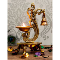 eCraftIndia Antique Finish Brass Parrot Showpiece Diya with Bells and Stand