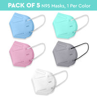Nykaa Fashion Essentials- Certified N95 Mask with 5 Layer Protection Pack of 5-NYA019 - Multi-Color