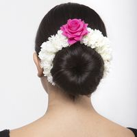 Moedbuille Pink Floral Design White Beaded And Lace Handcrafted Hair Accessory