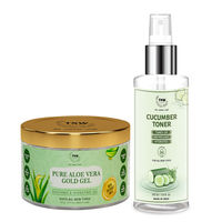 TNW The Natural Wash Aloe Vera Gold Gel and Cucumber Toner for Fresh and Glowing Skin Combo