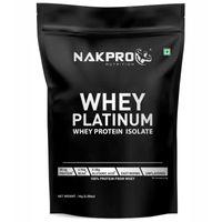 NAKPRO Platinum 100% Whey Protein Isolate Supplement Powder - Unflavoured