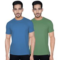 XYXX Men's Organic Cotton Round Neck Solid Earth 1.0 T-shirt, Pack Of 2 - Multi-Color