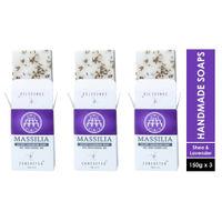 Concocted Massilia Luxury Handmade Exfoliating Soap - Pack of 3