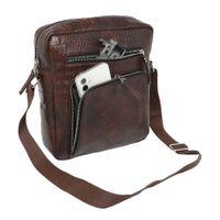 FUR JADEN Brown Crocodile Texture Faux Leather Crossbody Sling Bag