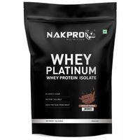 NAKPRO Platinum 100% Whey Protein Isolate Supplement Powder - Chocolate Flavour