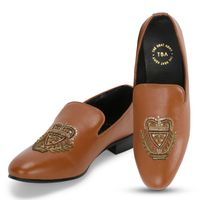 The Brat Army Bern Tan Hand Embroidered Ethnic Slip On