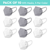 Nykaa Fashion Essentials- Certified N95 Mask with 5 Layer Protection Pack of 10-NYA018 - Multi-Color