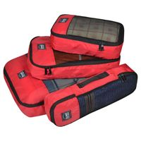 EUME Polyester Travel Pouch & Travel Organizer Pack of 4 (Red)