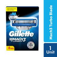 Gillette Mach Turbo 3 Shaving Blades (Pack Of 6 Cartridges)