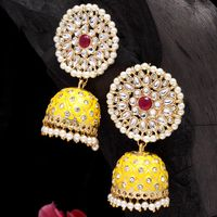 Moedbuille Hand Painted Work Kundan and Pearls Studded Gold Plated Handcrafted Jhumkas