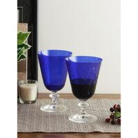 Bohemia Crystal Bella Engraved Red Wine Glass Set, 350ml, Set Of 6, Dark Blue