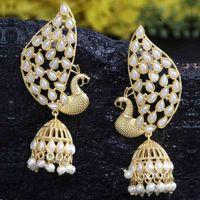 Ferosh Abirami Pearl White Jhumka Earrings