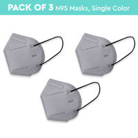 Nykaa Fashion Essentials- Certified N95 Mask with 5 Layer Protection Pack of 3-NYA025 - Grey