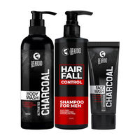 Beardo Bath & Body Combo For Men (Charcoal Facewash, Charcoal Bodywash & Hair Fall Control Shampoo)