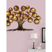 eCraftIndia Golden Beautiful Leaves Tree Iron Wall Hanging with background LED's