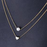 Ferosh Mireille Layered Pearl Heart Necklace