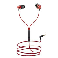 boAt BassHeads 182 N Braided Wired Earphones with Enhanced Bass & Metallic Finish (Red)