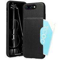 "Memumi Len Series Premium Leather Card Holder Back Cover Case for Apple iPhone 7/8 - Black (4.7"")"