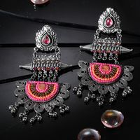 Moedbuille Handcrafted Hanging Pattern Pink Beads Afghan Design Silver Plated Brass Chandbali