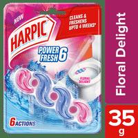 Harpic Power Fresh 6 Toilet Rim Block, Floral Delight