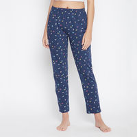 Clovia Butterfly Print Pyjama in - Cotton - Blue