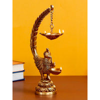 eCraftIndia Decorative Handcrafted Peocock Brass Showpiece with Diya for 6 Wicks