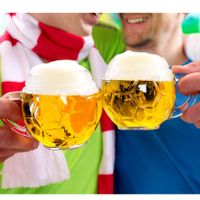 Oberglas Football Glass Beer Mug Set, 400ml, Set Of 2, Transparent
