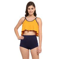 Cukoo Padded Two Piece Tankini Swimwear - Yellow