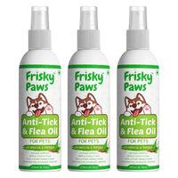 Frisky Paws Anti-tick & Flea Oil Spray For All Breeds With Neem Oil, Aloe Vera, Triphala - 3 Pcs