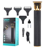 VGR Hair Clipper/Trimmer, 0Mm T-Blade Barber Hair Cutting, Usb Rechargeable Portable Trimmer, Black