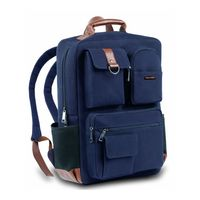 Smith & Blake Laptop Backpack Blue Canvas with Leatherette Styling | Elliot