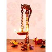 eCraftIndia Decorative Handcrafted Brass Parrot Showpiece Diya for 5 wicks with Stand