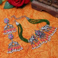 Moedbuille Green Crystals And Stones Studded Silver Plated Temple Jewelry Set