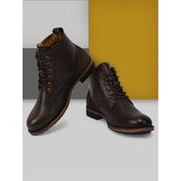 Teakwood Men Brown Solid Genuine Leather Mid Top Boots